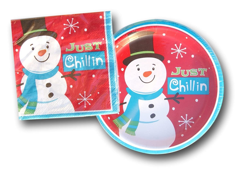 snowman paper plates and napkin sets. Black Bedroom Furniture Sets. Home Design Ideas