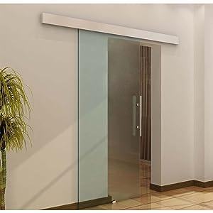 Glasschiebetür Schiebetür Tür Zimmertür mit Griffstange einseitig satiniert 2050x 775 mm   Kundenbewertung und Beschreibung