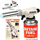 Kitchen Butane Blow Torch Lighter - Culinary Torch Chef Cooking Torches Professional Adjustable Flame with Reverse Use for Creme, Brulee, BBQ, Baking, Jewelry by TENGYES, Butane Not Included (Color: Black, Tamaño: Medium)