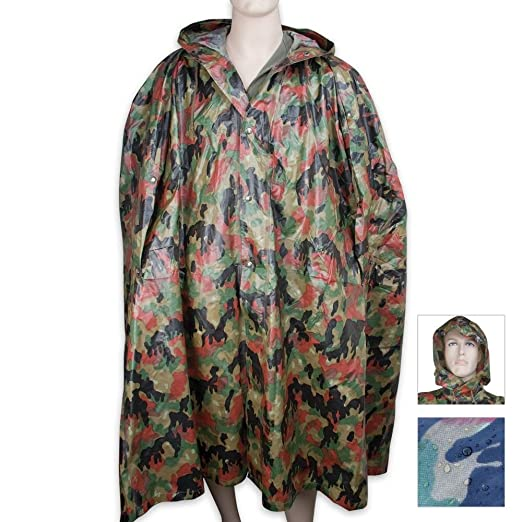 Military Surplus Swiss Camo Wet Weather Poncho