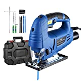 Jigsaw, Holife 6.5Amp 3000SPM Jig saw with Laser Guide, LED Light, Variable Speed, Accessories including 6PCS Jigsaw Blades, Guider Ruler, Allen Wrench in Carrying Case (Color: Blue)
