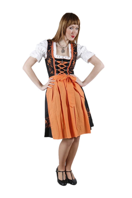 3tlg. Stickrosen Dirndl Set Schwarz Orange mit Bluse und Schuerze günstig