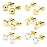 Hoeudjo Surgical Steel Mens Womens Heart Stud Earrings Clear Square & Round Cubic Zirconia Inlaid Cross Dangle Earrings Gold Tone 6 Pairs (Color: 6 Pairs-20G-Goldtone)