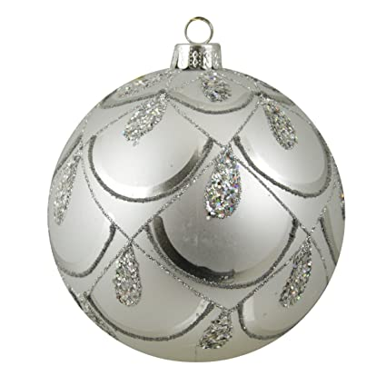 Gray Matte Silver Scallop Glitter Drop Design Shatterproof 4-inch Christmas Ball Ornament by Sterling