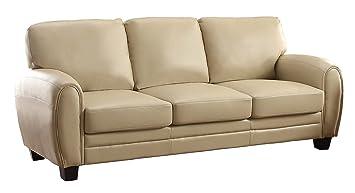 Homelegance 9734TP-3 Upholstered Sofa, Taupe Bonded Leather Match