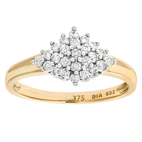 Naava 9ct Yellow Gold Diamond Cluster Ladies Ring