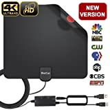 HDTV Antenna, Indoor Digital Amplified TV Antenna 70-100 Miles Range with Adjustable Amplifier Signal Booster 4K1080P HD VHF UHF Freeview for Life Local Channels Support All TV's -16.5ft Coax Cable (Color: Black, Tamaño: Middle)