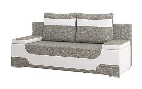 Hikenn Sofa Schlafsofa 2-Sitzer Zweifarbig mit Bettfunktion Schlaffunktion Bettkasten