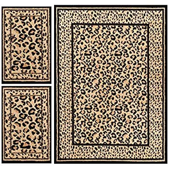 Royal Court Leopard Animal Print Modern Contemporary Geometric Beige Brown Ivory 3-piece Living Dining Room Entryway Bathroom Kitchen Ultra Value Area Rug Set 5x7 and Bonus 2x3 Mats