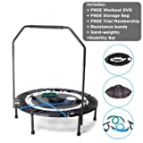 MaXimus Pro Quarter Folding Rebounder Mini Trampoline Includes Compilation DVD with 4 workouts, Stability Handle Bar, Storage/Carry Bag, Resistance Bands Weights FREE 3 MONTHS ONLINE VIDEO MEMBERSHIP! (Color: BLACK, Tamaño: standard size 40 inch fitness rebounder trampoline)