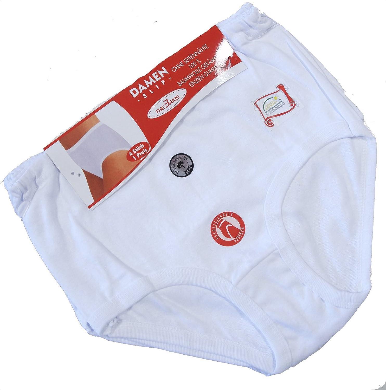 4er, 8er, 16er oder 24er Pack Damen Slip weiß , 100% Baumwolle Gr. 40/42-56/58