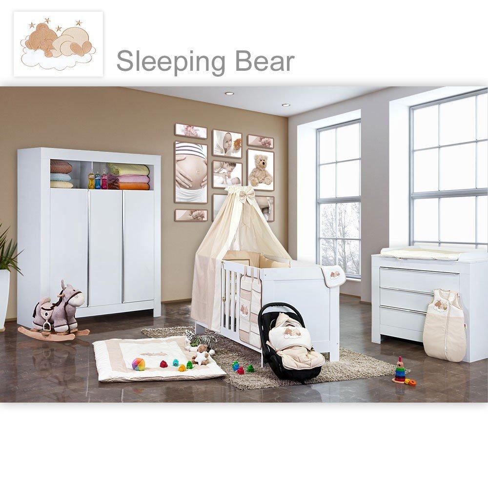Babyzimmer Felix in weiss 19 tlg. mit 3 türigem Kl + Sleeping Bear in beige