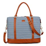 BAOSHA HB-28 Ladies Women Canvas Travel Weekender Overnight Carry-on Shoulder Duffel Tote Bag With PU Leather Strap (Sky Blue) (Color: Sky Blue, Tamaño: 16 x 12 x 8 inch)