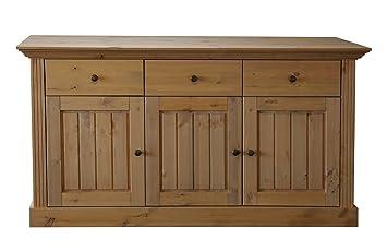 Steens Furniture 3170250088001F Sideboard Monaco, 3 turig, 3 Schubladen, 78 x 145 x 46.5 cm Kiefer massiv, komplett gelaugt
