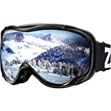 Zionor Lagopus Ski Snowboard Goggles UV Protection Anti-Fog Snow Goggles for Men Women Youth (Color: B-VLT 11% Black Frame Silver Lens, Tamaño: One Size)