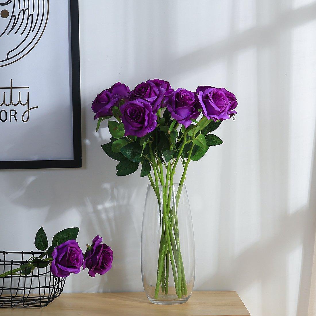 JUSTOYOU 10pcs Artificial Rose Silk Flower Blossom Bridal Bouquet for Home Wedding Decor(Purple)