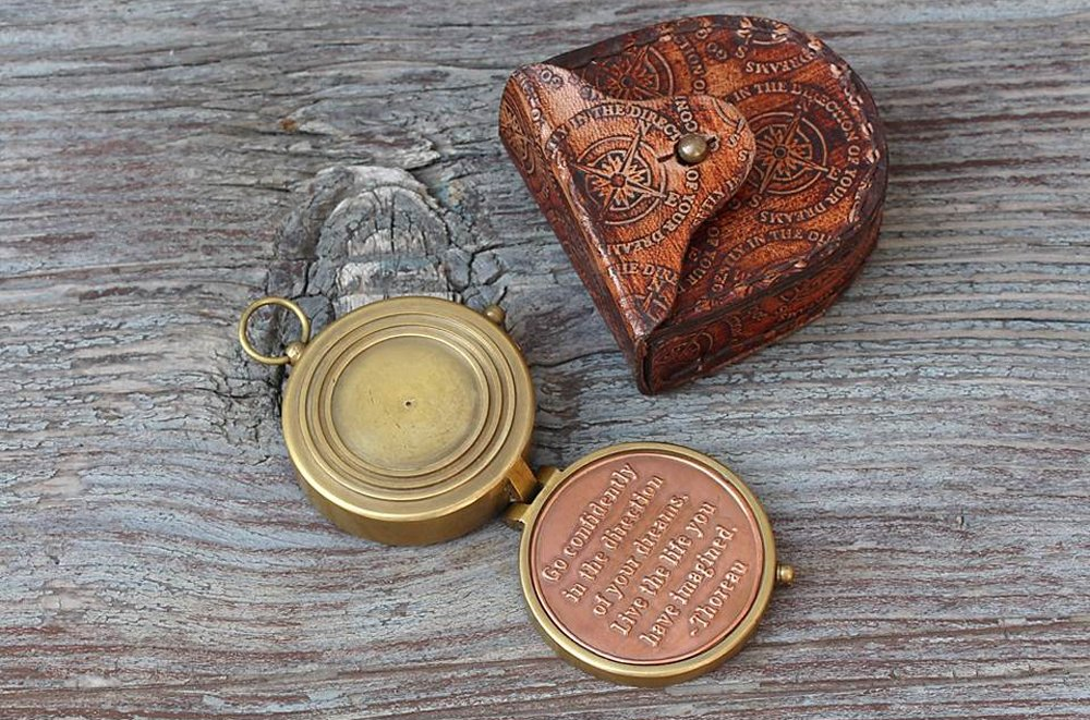 Thoreau's Go Confidently Quote Compass W/Stamped Case. 1