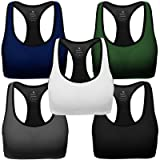MIRITY Women Racerback Sports Bras - High Impact Workout Gym Activewear Bra Color Black Grey Blue Green White Pack of 5 Size 3XL