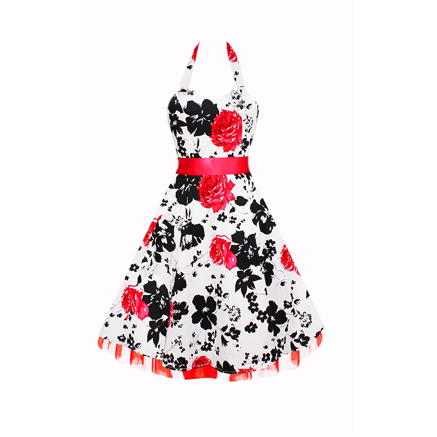 Black & Red Floral 50s Dress