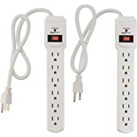 2-Pack AmazonBasics 6-Outlet Surge Protector Power Strip 200 Joule