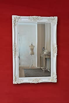 6Ft X 4Ft 183cm X 121cm Large Ivory Very Ornate Antique Design Big Wall Mirror