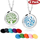 2 Pieces Fragrance Aromatherapy Essential Oil Prume Diffuser Necklace Locket Pendant Outfitters with 24 Inch Chain-Tree of Life & Cloud Set