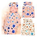 Galabloomer Newborn Receiving Blanket Headband Set Flower Print Baby Swaddle Receiving Blankets (Pink Ivory Pack Two) (Color: pink ivory pack two, Tamaño: small)