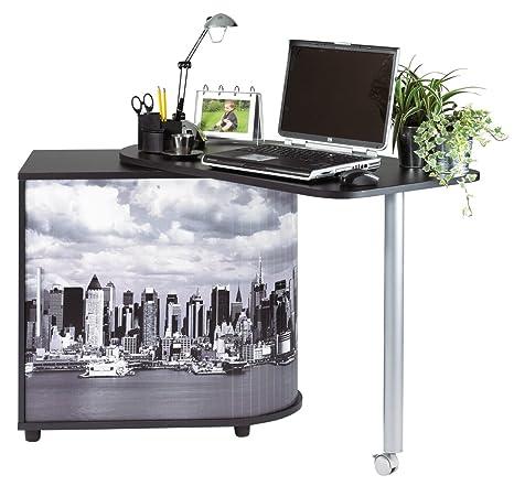 Simmob COOL100NO508 Manhattan 508 Bureau Informatique Pivotant avec Rideau Imprimé Bois Noir 55 x 105 x 74,7 cm