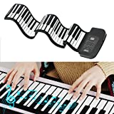 Electronic Piano Keyboard 61-Key,Portable Roll Up Digital Music Piano Keyboard,Rechargeable Design,Soft Silicone Touch,Fits Beginners,Kids and Adults,Gift for Birthday (Color: Black)