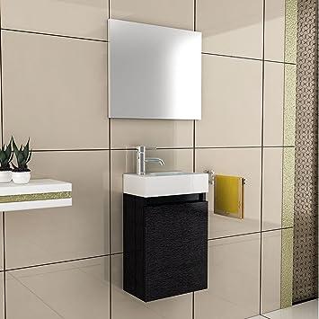 Basin and Cabinet / Design / Bathroom Furniture Set Mirror / Bathroom Set Wash Basin / Wash Basin / Wash Basin / Colour: black / Lugano 400 Bathroom Komplettprogramme