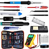 Updated Soldering Iron Kit, WRLSUN 60W Adjustable Temperature Electric Soldering Iron 110V with ON/OFF Switch, Welding Tool, Digital Multimeter, Soldering Iron Stand (Color: Blue, Tamaño: 11 x 6.3 x 2 inches)