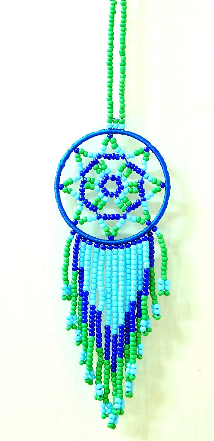 DreamCatcher Blue Green Beads handmade bohemian boho vintage hippie fashion dream catchers extensions в магазине духи escada ibiza hippie