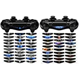 eXtremeRate 60 Pcs/Set Custom Color Scary Ghost Light Bar Sticker Decals for PlayStation 4 PS4 PS4 Slim PS4 Pro Remote Controller Cover Skins (Color: B)
