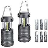 Led Lantern GYMAN Camping Lantern(2 Pack Collapsible) with 6 AA Batteries Ultra Bright with Magnetic Base Best Camping Equipment Gear Survival Kit for