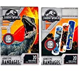 Jurassic World Adhesive Bandages Set of 2 Boxes/Packs 20 per Box (40 Total Bandages) Assorted Dinosaur Images for Kids Children Boys/Girls - Strips 3/4 X 3 Inches - ASO