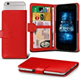(Red) verykool s5017 Dorado Adjustable Spring Wallet ID Card Holder Case Cover ONX3®