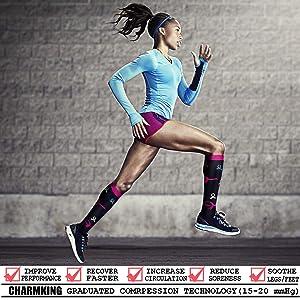d5dcf99634 CHARMKING Compression Socks 15-20 mmHg is BEST Graduated Athletic & Medical  for Men & Women ...