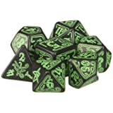 Q Workshop Call of Cthulhu: Black and Green Dice, Set of 7 (Color: black & green)