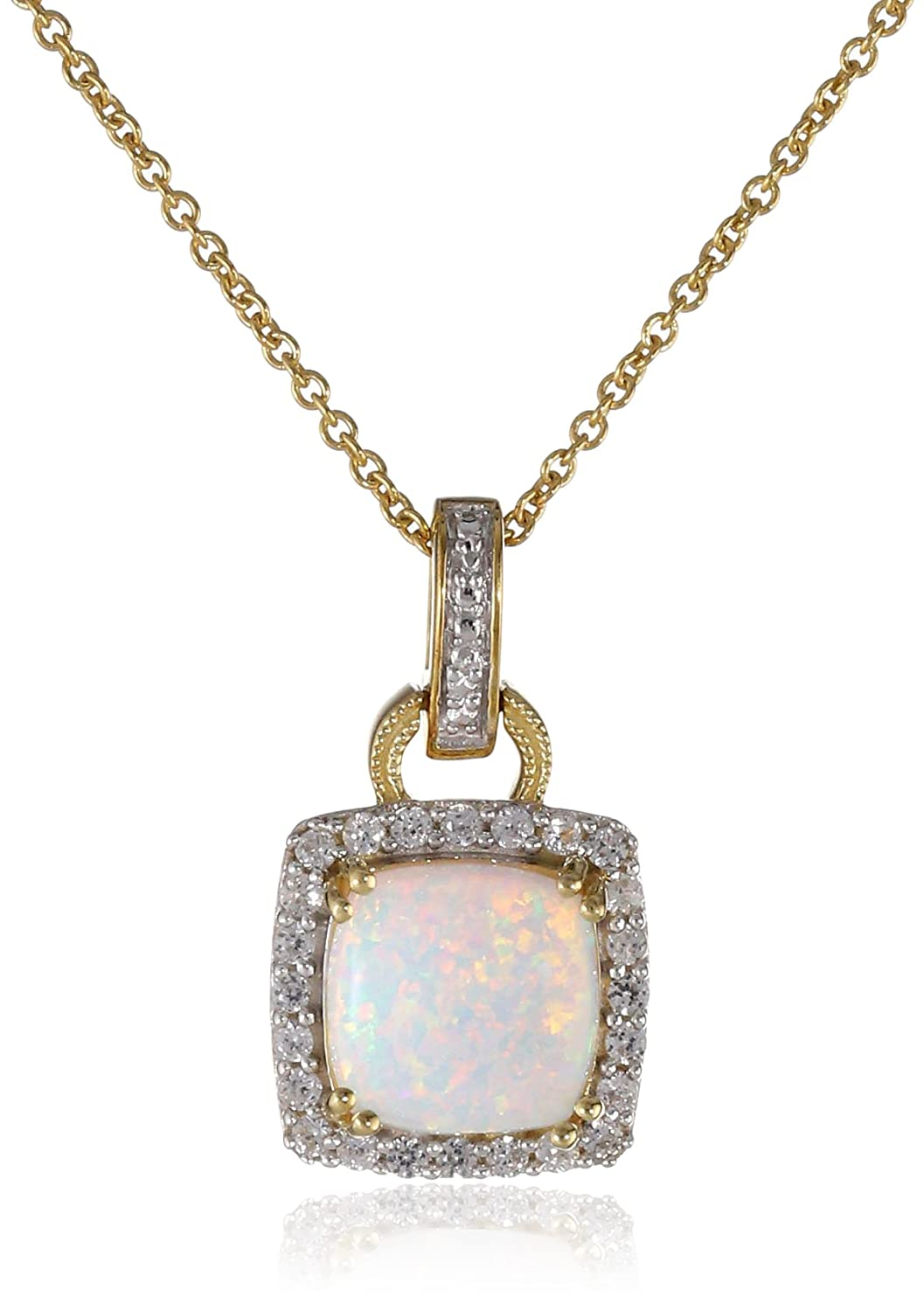 Sterling Silver Yellow Gold Plated Birthstone with Gemstone and Created White Sapphire Pendant Necklace 18