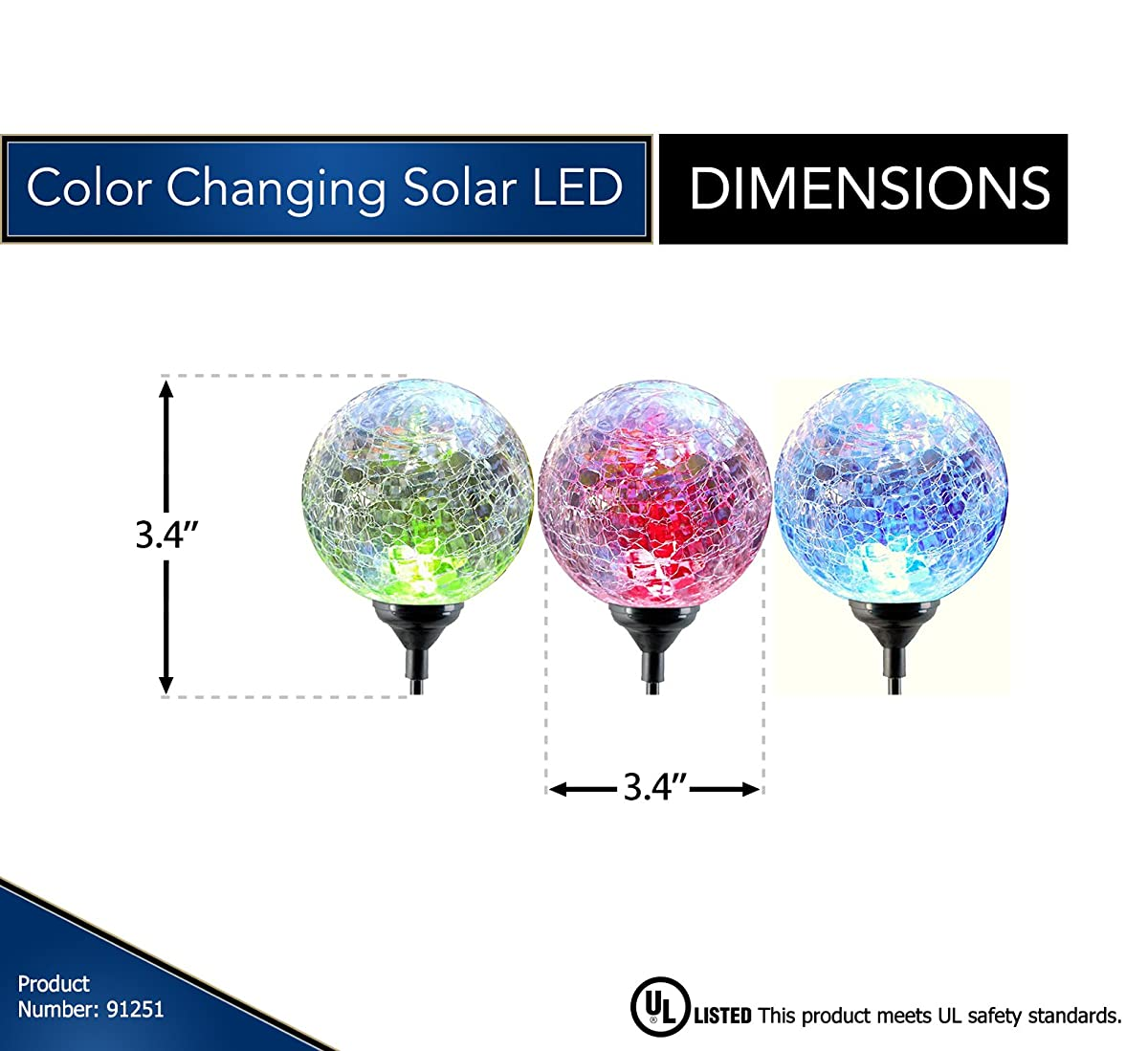 Moonrays LED Solar Path Lights In Glass Ball Design With Color Changing Feature (3-pc Pack)