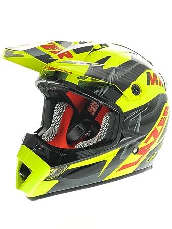 Casque Motocross Lazer MX8 Pure Glass Geopop Jaune-Noir-Rouge