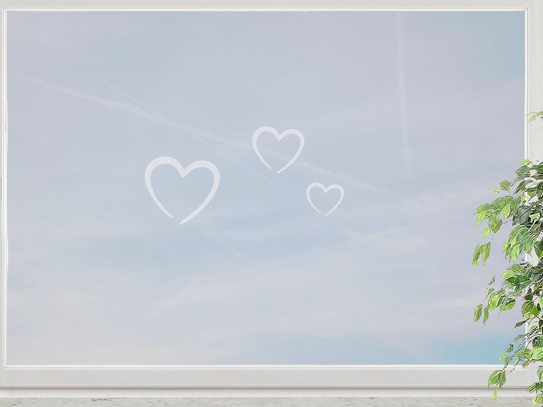 wandfabrik – Fenstersticker Herzchen 3 süße Herz (HZ1) – frosty – 798 – (Xt) bestellen