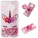 Glitter Case for Samsung Galaxy J4 Plus 2018,QFFUN Bling Floating Liquid Quicksand Soft Clear Slim Fit Silicone Case with Screen Protector Shockproof Anti-Scratch Bumper Protective Cover - Unicorn (Color: Unicorn, Tamaño: Samsung Galaxy J4 Plus 2018)