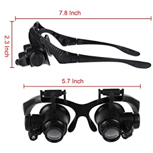 Double Eye Watch Repair Magnifier Loupe LED Light Jeweler Magnifying Glasses Tool Set with 8 Lens 10X 15X 20X 25X