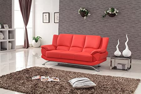Milano Contemporary Leather Sofa (Red)