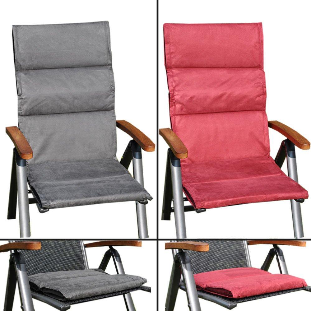 Hochlehner und/oder Sitzkissen – Gartenmöbel Auflagen – Grau oder Bordaeux (Sitzkissen Grau) günstig kaufen
