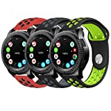 Gear S3 Bands, KADES Silicone Replacement Strap Compatible for Samsung Galaxy Watch 46mm/ TicWatch Pro/Gear S3 Frontier/Gear s3 Classic/Moto 360 2Gen 46mm/ Amazfit Stratos Smart Watch (Color: Black/Gray, Black/Green, Red/Black)