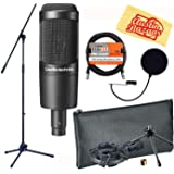Audio-Technica AT2035 Cardioid Condenser Microphone Bundle with Boom Stand, Pop Filter, XLR Cable, and Austin Bazaar Polishing Cloth (Color: Bundle w/ Boom Stand, Tamaño: AT2035)