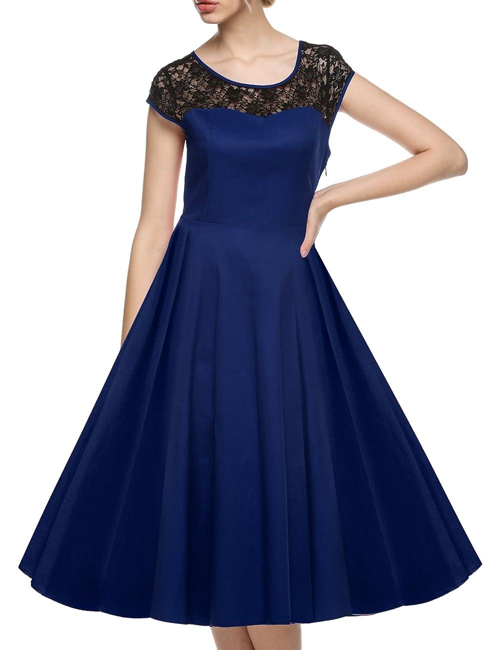 ACEVOG Women's Lace Crochet Sleeveless Cotton Vintage Tea Dress 2