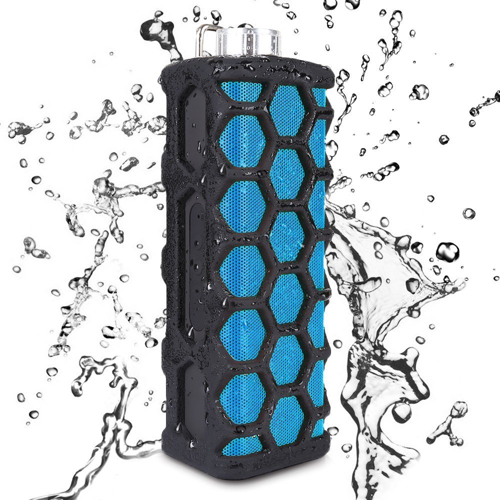 Keedox Outdoor Sports Water Resistant Shockproof Portable Wireless Bluetooth Speaker,Hands-free calls,Rechargeable, AUX Input, good for Iphone/Ipod/Android Smart Phone/Laptop/Tablet/Other Audio Devices (Black+Blue)